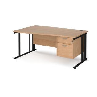 Nobis Office Furniture - Porto 25 left hand wave desk 1600mm wide with 2 drawer pedestal - black cable managed leg frame