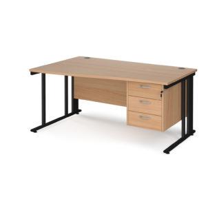 Nobis Office Furniture - Porto 25 left hand wave desk 1600mm wide with 3 drawer pedestal - black cable managed leg frame