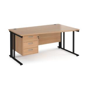 Nobis Office Furniture - Porto 25 right hand wave desk 1600mm wide with 3 drawer pedestal - black cable managed leg frame