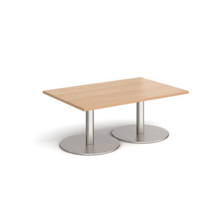 Nobis Office Furniture - Monza rectangular coffee table with flat round brushed steel bases 1200mm x 800mm - beech