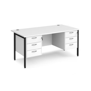 Nobis Office Furniture - Porto 25 straight desk 1600mm x 800mm with two x 3 drawer pedestals - black H-frame leg