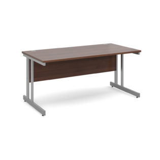 Nobis Office Furniture - Momento straight desk 1600mm x 800mm - silver cantilever frame