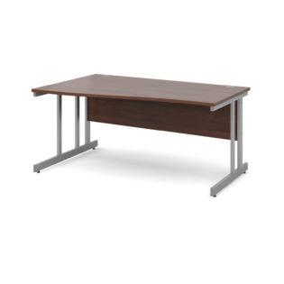 Nobis Office Furniture - Momento left hand wave desk 1600mm - silver cantilever frame