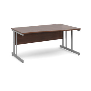 Nobis Office Furniture - Momento right hand wave desk 1600mm - silver cantilever frame