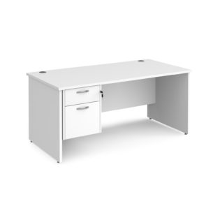 Nobis Office Furniture - Porto 25 straight desk 1600mm x 800mm with 2 drawer pedestal - white top with panel end leg