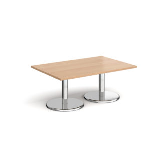 Nobis Office Furniture - Pisa rectangular coffee table with round chrome bases 1200mm x 800mm - beech