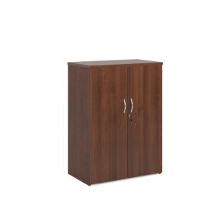 Nobis Office Furniture - Universal double door cupboard 1090mm high with 2 shelves - walnut