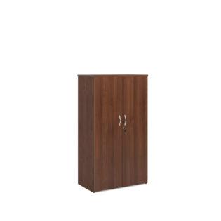 Nobis Office Furniture - Universal double door cupboard 1440mm high with 3 shelves - walnut