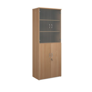 Nobis Office Furniture - Universal combination unit with glass upper doors 2140mm high with 5 shelves - beech
