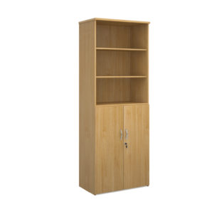 Nobis Office Furniture - Universal combination unit with open top 2140mm high with 5 shelves - oak