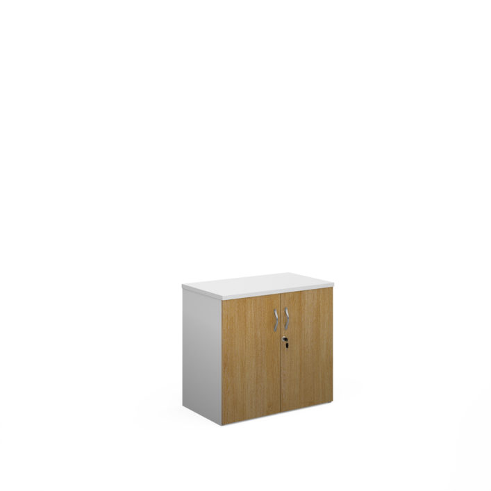 Nobis Office Furniture - Duo double door cupboard 740mm high with 1 shelf - white with oak doors