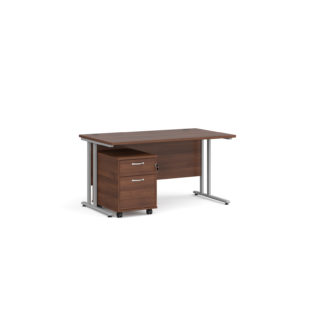 Nobis Office Furniture - Porto 25 SL straight desk 1400mm x 800mm with silver cantilever frame and 2 drawer pedestal - walnut