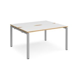 Nobis Office Furniture - Connect II Bench Desks sliding top starter units back to back 1400mm x 1200mm - silver frame
