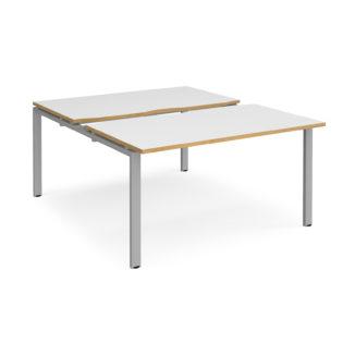 Nobis Office Furniture - Connect II Bench Desks sliding top starter units back to back 1400mm x 1600mm - silver frame