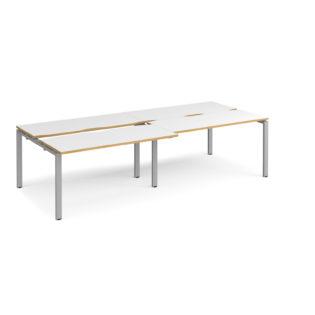 Nobis Office Furniture - Connect II Bench Desks sliding top double Sit Stand Desks 2800mm x 1200mm - silver frame