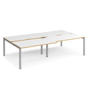 Nobis Office Furniture - Connect II Bench Desks sliding top double Sit Stand Desks 2800mm x 1600mm - silver frame