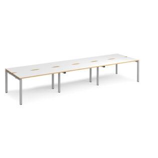 Nobis Office Furniture - Connect II Bench Desks sliding top triple Sit Stand Desks 4200mm x 1200mm - silver frame
