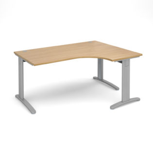 Nobis Office Furniture - Lillo Cluster Desk deluxe right hand ergonomic desk 1600mm - silver frame