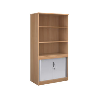 Nobis Office Furniture - Systems combination unit with tambour doors and open top 2000mm high with 2 shelves - beech