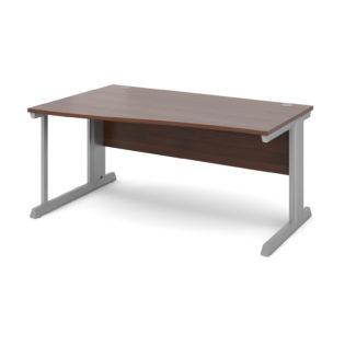 Nobis Office Furniture - Bretton Cable Managed Desk left hand wave desk 1600mm - silver frame