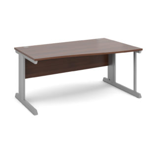 Nobis Office Furniture - Bretton Cable Managed Desk right hand wave desk 1600mm - silver frame
