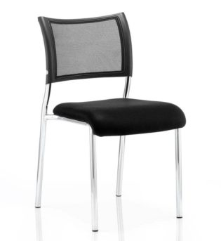 Brunswick Visitor Chair Black Fabric Without Arms Chrome Frame | Nobis Office Furniture