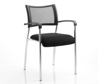 Brunswick Visitor Chair Black Fabric With Arms Chrome Frame | Nobis Office Furniture