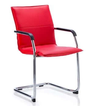 Echo Cantilever Chair Red Soft Bonded Leather With Arms | Nobis Office Furniture