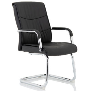 Carter Black Luxury Faux Leather Cantilever Chair With Arms | Nobis Office Furniture