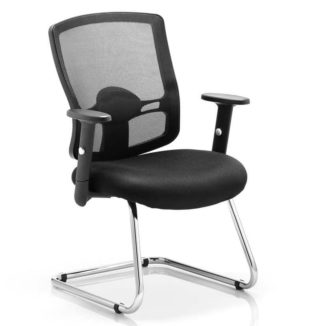 Portland Cantilever Chair Black Mesh With Arms | Nobis Office Furniture