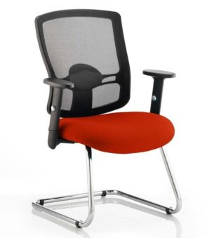 Portland Cantilever Bespoke Colour Seat Tabasco Red | Nobis Office Furniture