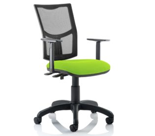 Eclipse Plus II Lever Task Operator Chair Mesh Back With Bespoke Colour Seat in myrrh Green With Height Adjustable Arms   Nobis Office Furniture