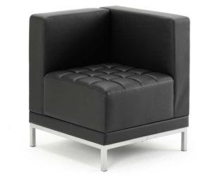 Infinity Modular Corner Unit Sofa Chair Black Soft Bonded Leather   Nobis Office Furniture