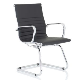 Nola Black Soft Bonded Leather Cantilever Chair | Nobis Office Furniture